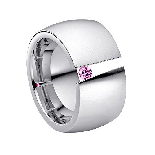 Heideman Ring Damen Aditus aus Edelstahl Silber farbend poliert Damenring für Frauen mit Swarovski Stein Zirkonia pink im Brillant Schliff 3mm
