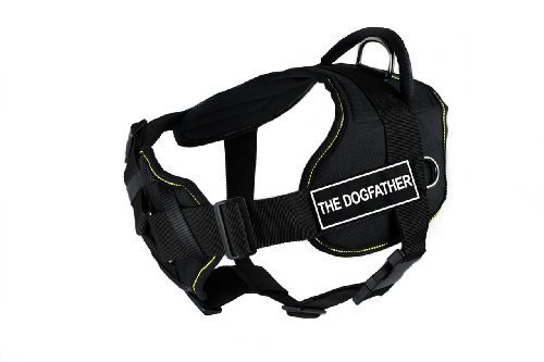 dean-tyler-32-to-107cm-the-dogfather-fun-harness-with-padded-chest-piece-large-black-with-yellow-tri