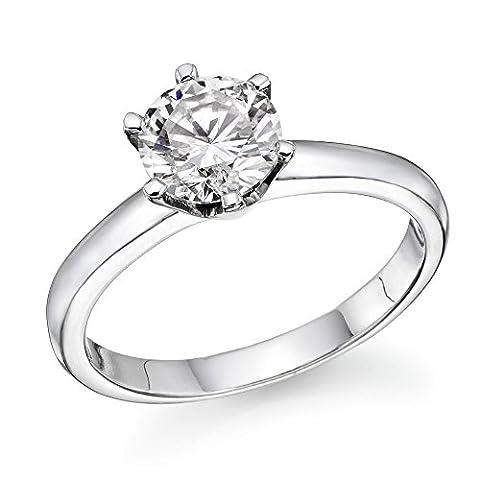 1.5 CT Swarovski CZ Engagement ring Round Brilliant Cut 18K White Gold