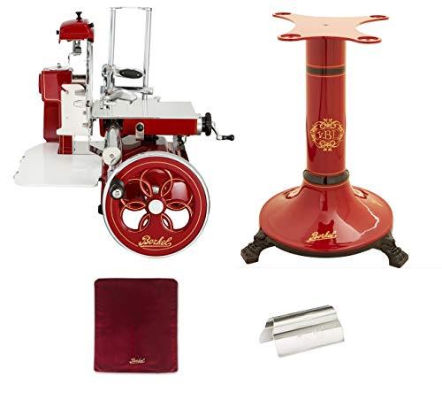 Berkel - Schwungrad B3 - Berkel Rot mit Golddekor - Geblühtes Schwungrad + Roter Slicer Deckel + Schinkenzange + Sockel