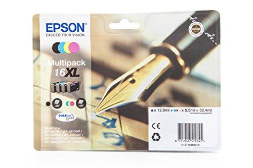 Preisvergleich Produktbild Original Tinte Epson 16XL C13T16364010 - 4x Premium Drucker-Patrone - Schwarz, Cyan, Magenta, Gelb - 1 x 12,90 & 3 x 6,5 ml
