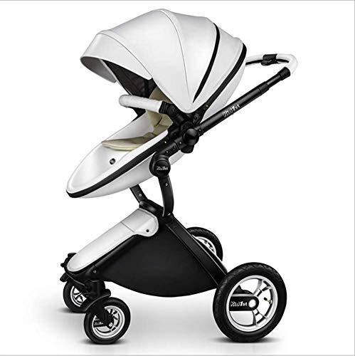 QZX 2 in 1 Kinderwagen Reisesystem Kompakte Einhandfalte mit feststellbaren Rädern und geräumigem 5-Punkt-Sicherheitssystem, Leichtgewichtler,White