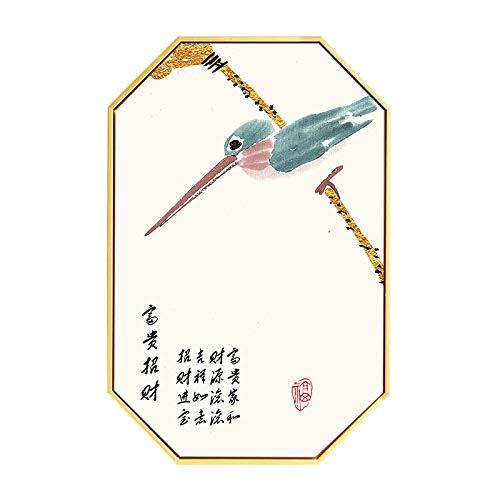 Moderno antichità fiori ottagono arte muraria dipinti decorativi tela stampare stile cinese inchiostro ad acqua pittura a colori pittura ad olio soggiorno sfondo pittura appesa,a,24*40inch