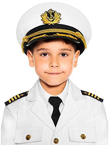 Maskworld Authentische Kapitäns-Mütze für kleine Seefahrer - Kinder-Kostüm-Accesoire - Uniform für Karneval Fasching & Halloween - Größe 56