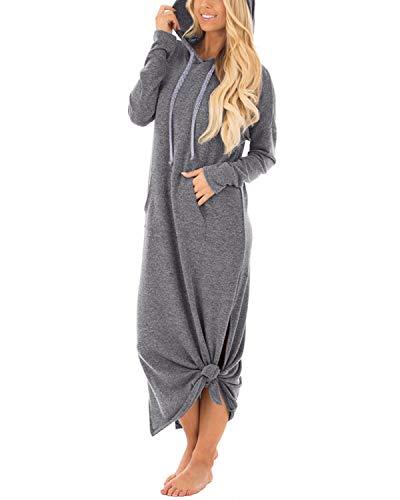 GIKING Women's Hoodies Long Sleeve Tunic Pullover Sweatshirt Maxi Dresses with Kangaroo Pocket Gray UK 10