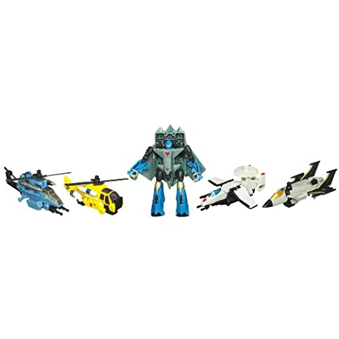 Transformers Power Core Combiners Series Robot Action Figure - Autobot SKYBURST with 4 Aerialbots (Recon Plane Drone, Combat Helicopter Drone, Chopper Drone and Fighter Jet