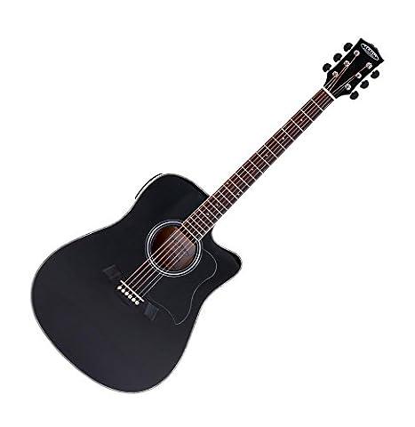 Classic Cantabile WS-20 Dreadnought Westerngitarre Black (mit Tonabnehmer und 3-Band Equalizer, geschlossene gummierte Chrom-Mechaniken) schwarz