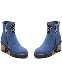 QZUnique Women's Jean Surface Platform Mid Heel Ankle Boots