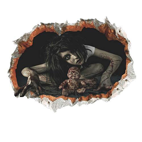 Zooarts 3D Halloween Gesicht Blut Ghost Wandaufkleber Halloween Decor Vinyl Aufkleber Wandbild (Halloween Ghost Gesichter)