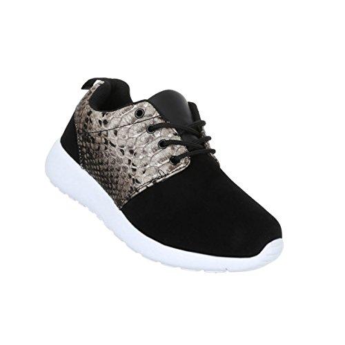 Damen Schuhe Freizeitschuhe Sneakers Turnschuhe Modell Nr2 Schwarz