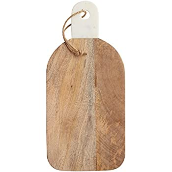 """KitchenCraft MasterClass Rustic Wooden Chopping/Serving Board with Marble Handle, 16 x 35 cm (6"""" x 14"""")"""