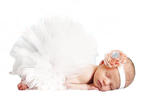 Happy Cherry Baby Foto Kostüm (Rock+ Stirnband) Bekleidungsset Kostüm für neugeborene Mädchen Rock Tutu Kleidung Prop Outfits Bekleidung Set-3-6 - Cherry Baby Kostüm