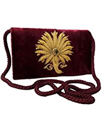Stylish Clutch Purse Sling Bag With 2 Pockets Valvet Clutches For Girls And Women By Himalaya Handicraft (Maroon)