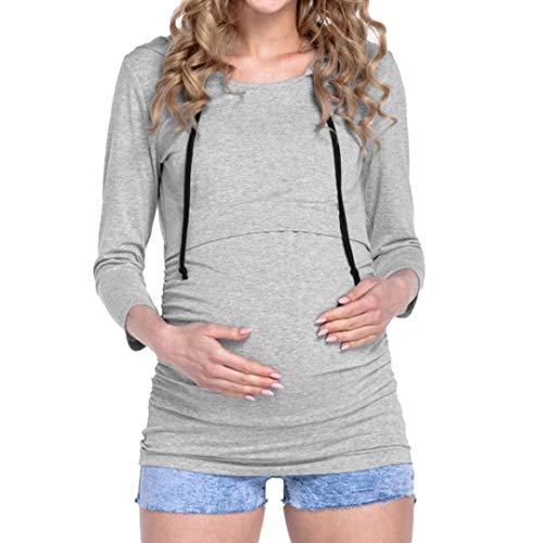 Hoodie MEIbax Damen Stillstands Oberseiten Lange Hülsen Kleidung für Schwangere mit Kapuze Bluse Pullover Sweatshirt Oberteile Kapuzenshirt