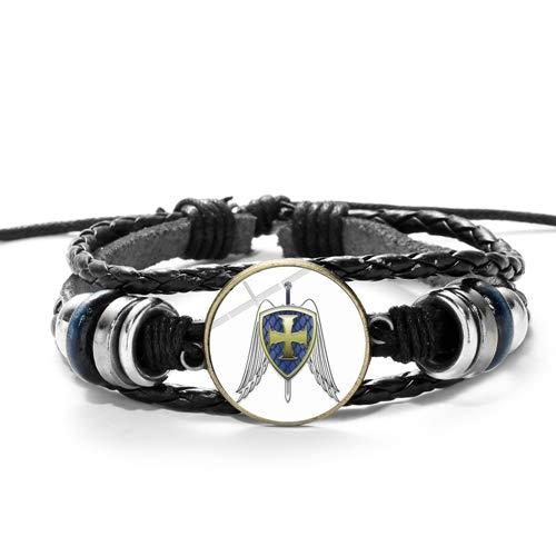 Jungen Michael St Kostüm - Armbänder Für Herren Legende Erzengel St.michael Leder Armband St.michael Schützen Sie Uns Saint Shield Schutz Gerechtigkeit Charm Armband Amulett