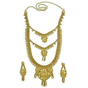 Banithani Traditionelle 18K Vergoldet Halsketten-Ohrringe Frauen Hochzeit Schmuck