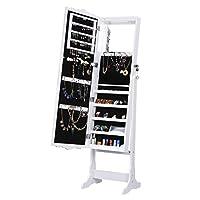 LANGRIA Floor-Standing Carved Lockable Jewellery Cabinet Organiser with Full-Length Mirror LED lights 5 Shelves Additional Inner Makeup Mirror Armoire for Rings Earrings Bracelets Cosmetics (White)