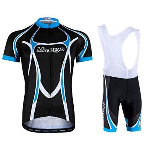 QJKai Radfahren Jersey Herren Radfahren Kleidung Fahrrad Jersey Top Mountain Road MTB Jersey Shirt Kurzarm mit 3D Cushion Shorts Atmungsaktive Team Sport (Size : M) -