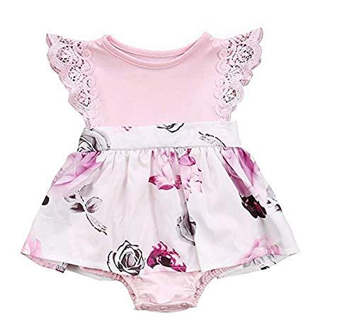 WANGSAURA Baby Mädchen Strampler Neugeborene Kleid Schwester Floral Kleidung Spitze Rüschen Ärmel Strampler Kleid Outfit Familie Kleidung -