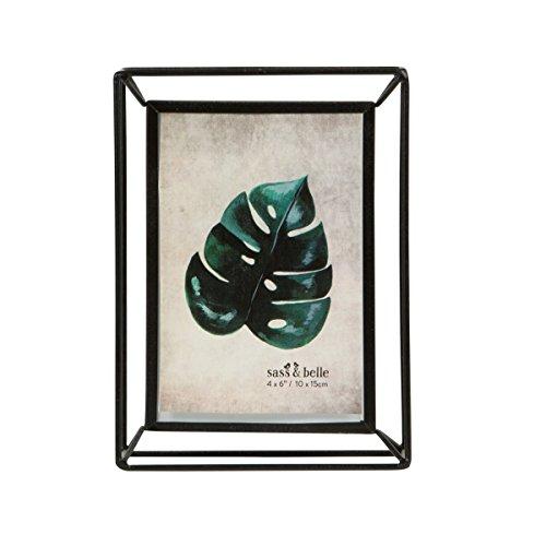 metall bilderrahmen stehend bild dekor geometrisch schwarz draht klarglas