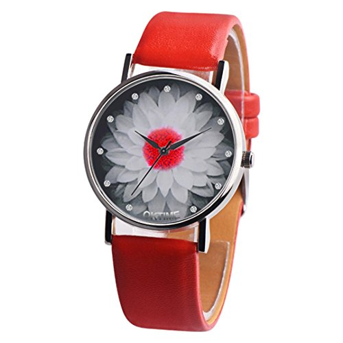 Hevoiok 2018 Hot Sale Damen Uhren Lotus Design Modisch Lederband Armbanduhr Quartzuhr Analog mit Batterie (Rot)