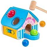 Vanplay Holz Hammerspielzeug Ballspiele Holzhaus mit Schlägel Abakusspiele Teaching-Uhren für Kinder ab 1 Jahr Baby Jungen Mädchen
