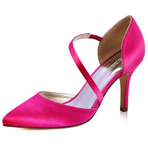 Elegantpark HC1711 D'Orsay Spitze Zehen High Heels Pumps Riemchen Abendschuhe Brautschuhe Rosa Gr.39 Pink Satin Heels