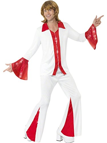 Mens White/Red Super Trooper 1970s 70s Celebrity Disco Decades Fancy Dress Costume Outfit M-L (Medium)