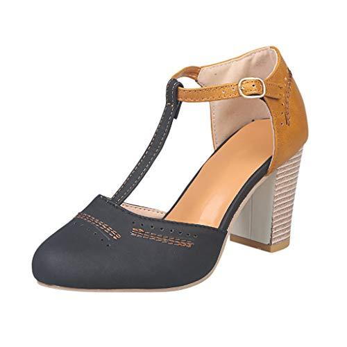 LILIHOT Frauen runder Kopf dick mit Sandalen hohen Absätzen einzelne Schuhe Damenschuhe Plateau Sandalen High Heels Plattform offen böhmischen Fischgrät mit römischen Sandalen -