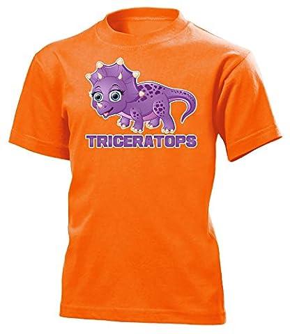 DINOSAURIER - TRICERATOPS 5187(K-ORA) Gr. 122/128 (Orange Triceratops Kostüm)