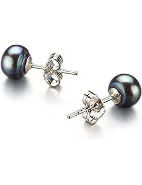 925 7-8mm Größe Echt Süßwasser Black Pearl Ohrringe Ohrstecker Qualitätsgeschenk