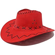 R F srls CAPPELLO COWBOY ROSSO COWGIRL SCAMOSCIATO FESTA PARTY COUNTRY  WESTERN d21e730be752