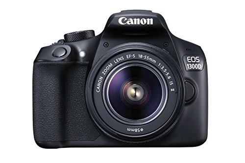 "Canon EOS 1300D - Cámara réflex de 18 Mp (pantalla de 3"", Full HD, 18-55 mm, f/1.5-5.6, NFC, WiFi), color negro - Kit con objetivo estabilizado EF-S 18-55 mm f/3.5-5.6 IS II"