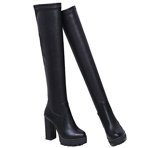 HOMEE Ms Pu Hochhackige Stiefel Knie Stretch Lange Barrel Warme Schuhe,35 Eu,Schwarz (Stretch-pu-knie-stiefel Schwarze)