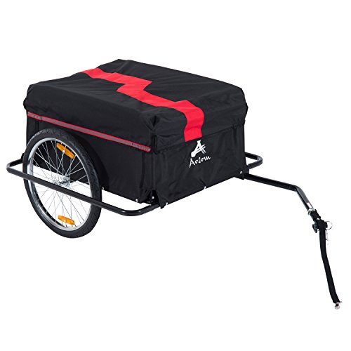 Homcom Remorque de transport velo cargo pliable charge max.60kg avec 4 reflecteurs et housse...
