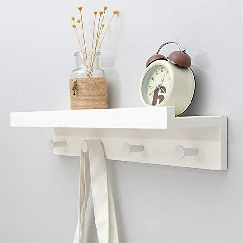 LNLW Garderobenregal Wandmontage, Hakenregal mit Kleiderstange, Metallhaken und oberem Regal für die Lagerung Flur Eingang Badezimmer Schlafzimmer Wohnzimmer,White,4-Hook -