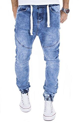 MERISH Herren Jeanshose Denim Chino Trend Joggingstyle Jeans Hose J719 Blau 32/32