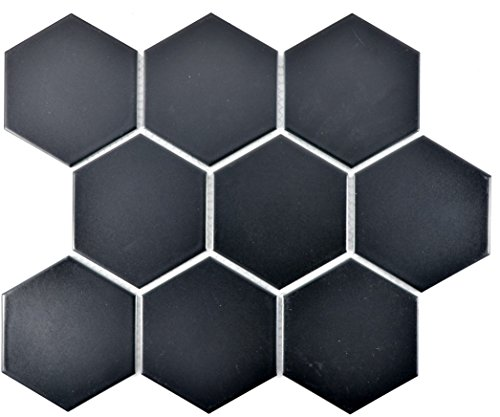 Mosaik Fliese Keramik Hexagon schwarz matt für BODEN WAND BAD WC DUSCHE KÜCHE FLIESENSPIEGEL THEKENVERKLEIDUNG BADEWANNENVERKLEIDUNG Mosaikmatte Mosaikplatte