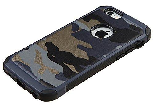 iPhone 7 hülle, iPhone 7 Holster hülle,Bookstyle Handyhülle Premium PU Leder Tasche Flip Case Brieftasche Etui Handy Schutz Hülle für Apple iPhone 7 - Schwarz Camo Blau