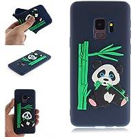 BONROY Samsung Galaxy S9 Hülle - Handyhülle für Samsung Galaxy S9 Handy Case - (TX-Panda isst Bambus dunkelblau)