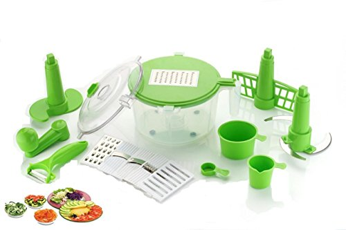 Floraware 10-Piece Multi Manual Food Processor, Vegetable Cutter, Chopper, Atta Maker, Dough Kneader, Grater, Nicer, Slicer, Dicer (Green)  available at amazon for Rs.395
