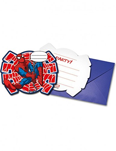 (Ciao Procos 86674.–Einladungen mit Umschlag Ultimate Spider Man Power, 6Stück, Rot/Blau)