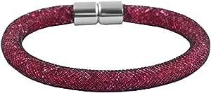 Akzent Nylon Mesharmband Armband Schwarz mit Roten Glassteinen Gefüllt und einem Silberfarbenem Edelstahl Magnetverschluß 003375000026 Länge 22cm Breite 8mm