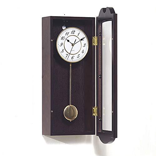 Pendel-Wanduhr, antike hängende Uhren mit Westminster Chime mechanische Wohnzimmer Nicht Ticken Finish Holzwand Uhren Quarz Uhren Geschenk (58cm)