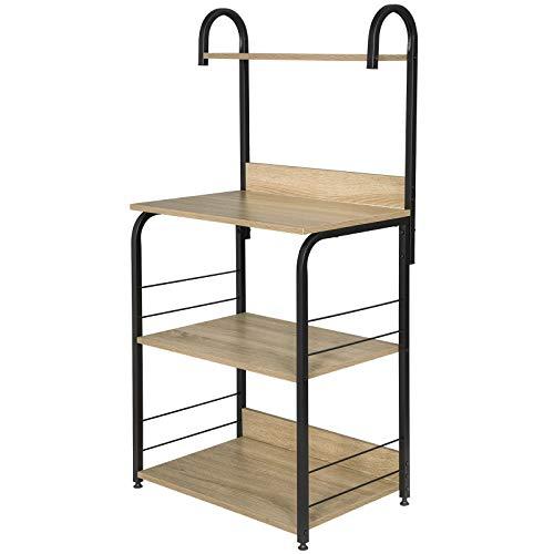 Eugad scaffale porta forno microonde carello per cucina multifunzione organizar a 3 ripiani salvaspazio 60x40x125,5cm legno chiaro 0013zwj
