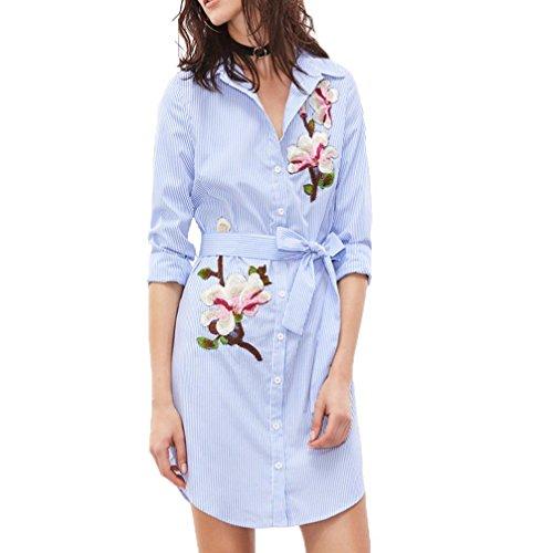FORH Damen Neue Herbst Vertikal reizvolle Revers Gestreift 3 / 4 - Ärmel Elegant Bestickt Hemd Kleid Entspannt Mini Kleid (S, Blau) (3 Pant Streifen Wind)