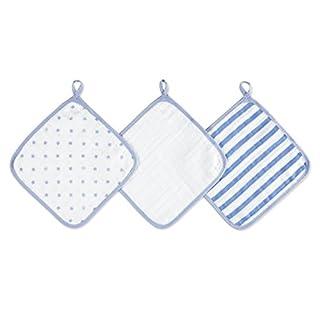 aden by aden + anais washcloth set, 100% cotton ,muslin, 3 pack, dashing