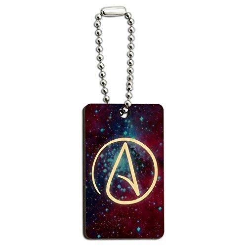 Atheist Atheismus Symbol in Space Holz Rechteck Schlüsselanhänger Ring