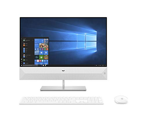HP Pavilion 24-xa0019ng All-in-One PC (24 Zoll / Full HD) Intel Core i7-8700T, 16GB DDR4 RAM, 256 GB SSD NVMe, 1TB HDD, nVidia GeForce GTX 1050 4GB DDR5, Windows 10 Home, weiß