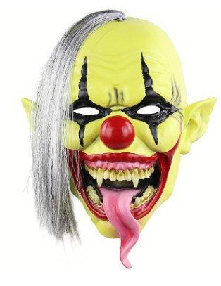 Green face horror clown mask - perfetto per carnevale, carnevale e halloween - costume adulto - latex, unisex taglia unica